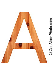 wood alphabet A