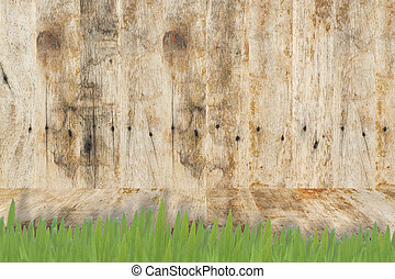 Wood and Grass for background and texture