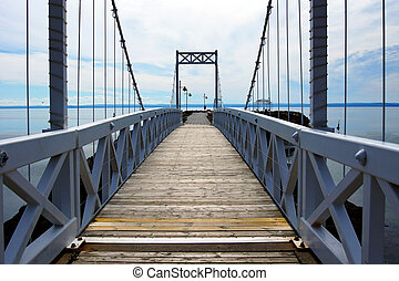 Wood and metal bridge perspective