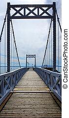 Wood and metal bridge perspective vertical