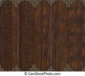 Wood and metal carved scroll work background - Wood and...