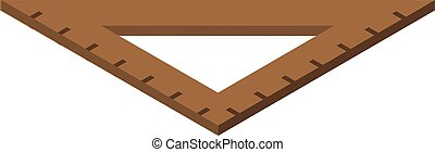 Wood angle ruler icon, isometric style