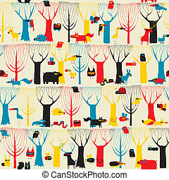 Wood Animals tapestry seamless pattern in modernistic colors...