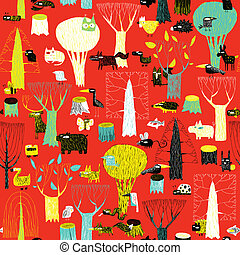 Wood Animals tapestry seamless pattern in pop colors is hand...