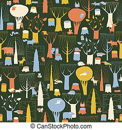 Wood Animals tapestry seamless pattern in retro colors is...