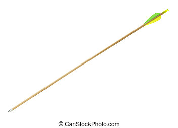 Wood Archery Arrow with Green and Yellow Flething Isolated on White Background.