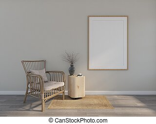 wood armchair with picture frame . 3d rendering