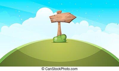 Wood arrows cartoon landscape.