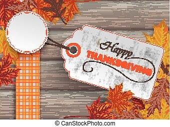 Wood Autumn Foliage Thanksgiving Price Sticker - Foliage...