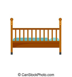 Wood baby bed icon, flat style