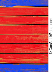wood background blue red color