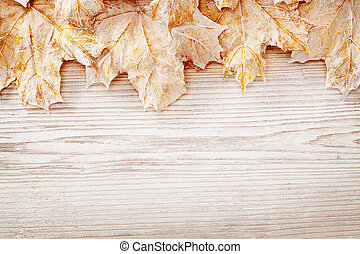 Wood Background White Leaves, Autumn Wooden Grain Board Texture, Decorated Leaf