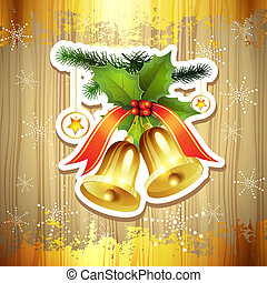 Christmas bells - Wood background with Christmas bells