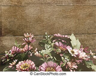 wood background with daisy flowers bouquet vintage filter color