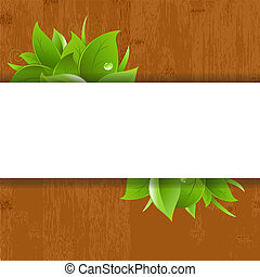 Wood Background With Leaves