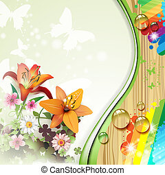 Wood background with lilies