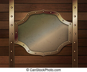 Wood background with metallic plate