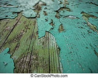 Wood background with old green peeling paint
