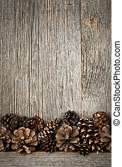 Wood background with pine cones