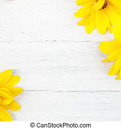 Wood background with yellow flowers