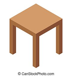 Wood backless chair icon. Isometric of wood backless chair icon for web design isolated on white background