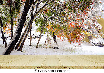 Wood balcony with autumn leaves and first snow background. ...