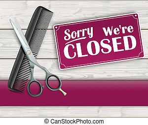 Wood Banner Scissorc Comb Sign Closed