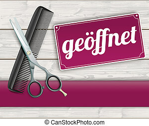 Wood Banner Scissorc Comb Sign Geoeffnet