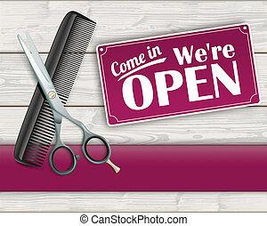 Wood Banner Scissorc Comb Sign Open