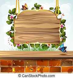 Wood banner with flowers