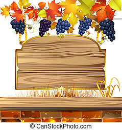 Wood banner with grapes
