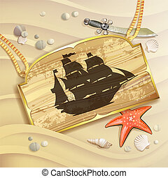 Wood banner with pirate ship