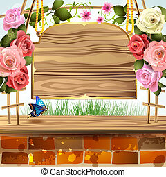 Wood banner with roses