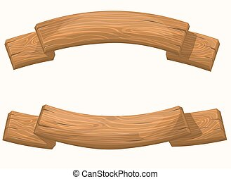Wood Banners And Ribbons vector