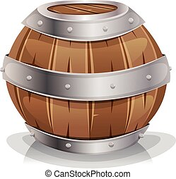 Wood Barrel - Illustration of a cartoon wooden wine barrel...