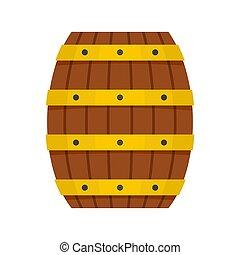 Wood barrel icon, flat style