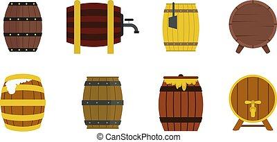 Wood barrel icon set, flat style