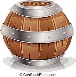Wood Barrel - Illustration of a cartoon wooden wine barrel...