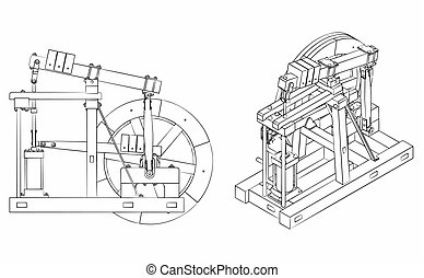 Wood Beam Engine different outline like a brushstrokes - ...