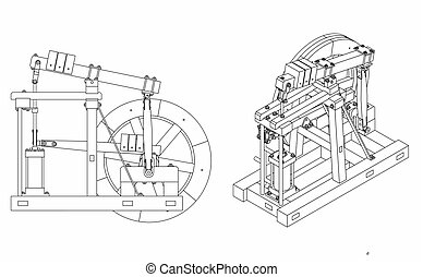 Wood Beam Engine outline only - Wood Beam Engine vector or ...