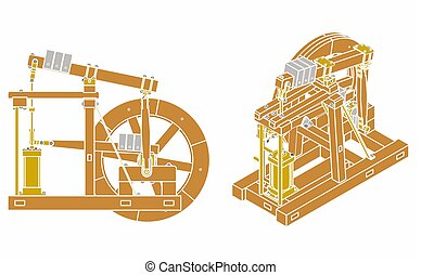 Wood Beam Engine without outline and colored - Wood Beam ...