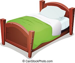 Wood Bed With Green Blanket - Illustration of a cartoon...