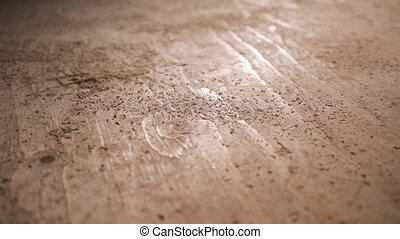 Wood being cut in woodshop - Close up of a piece of freshly ...