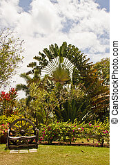 Wood Bench from Wagon Wheel in Tropical Garden