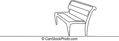 Wood Bench in park. One line drawing - Bench in park. ...