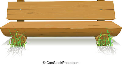 Wood Bench - Illustration of a cartoon wooden bench seat