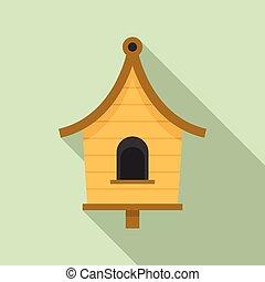 Wood bird house icon, flat style