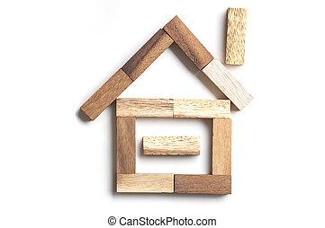 Wood block house
