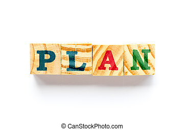 Wood block in word plan on white background