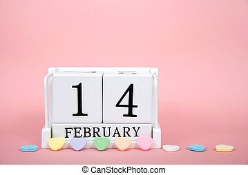 Wood block showing calendar date February 14th, Valentines Day